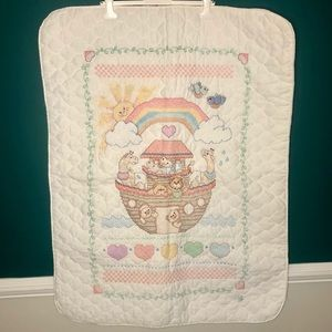 Noah's arch cross stitch baby quilt